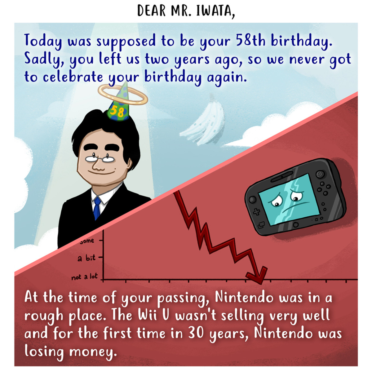 Happy birthday and thank you, Mr. Iwata. Today, December 6th, Satoru Iwata - president of Nintendo - was supposed to celebrate his birthday. I'm still sad he ne