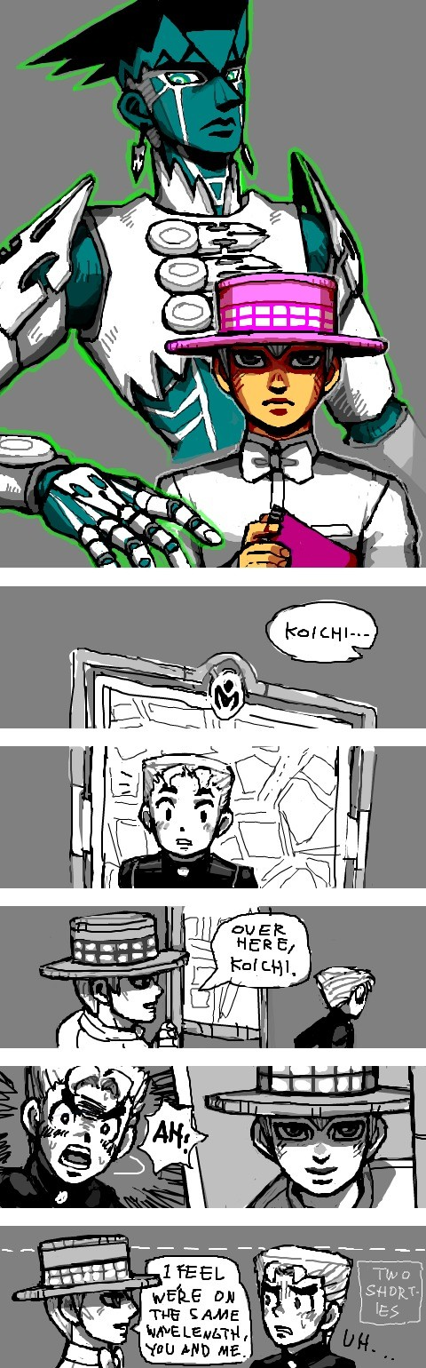 """Heaven´s Door and His Stand, 『THE MANGAKA』. Source: I just can´t help but think the Stand´s gonna shout """"OBJECTION!"""" any second now. But why...?. THE"""