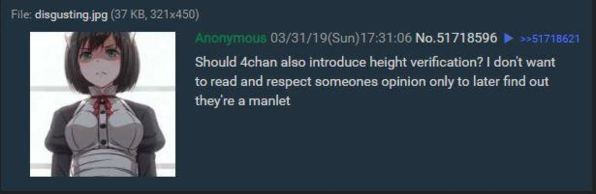 height verification. join list: 4chanDaily (1976 subs)Mention History 4chanCollection.. Is being tall really the best thing you guys have? I would hate myself if the best thing I could boasts about was my height or if I had the need to feel superio