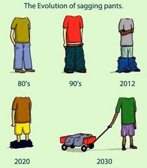 Here you go. . The Evolution of sagging pants. 2020 2030. yeah wagons are coming back!