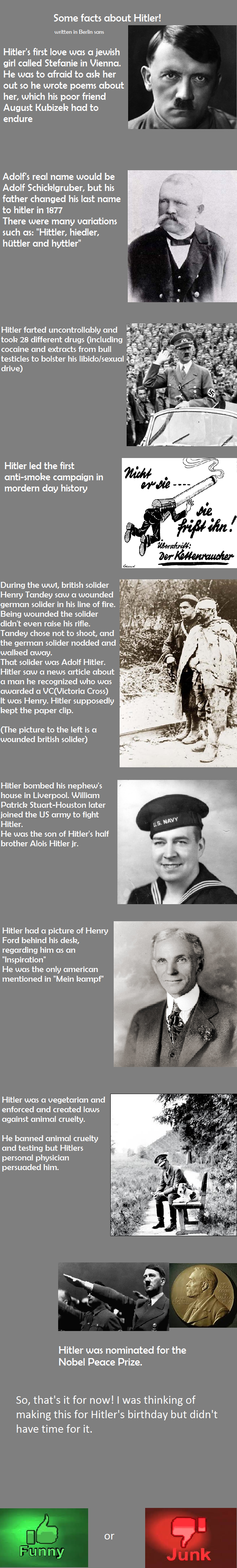 Hitlarious facts. Yoyoyoyo, i up some stuff on my comp so i deleted it and re-uploaded it. 100% OC Sources: I up i'm sorry Oh, and hitler NEVER visited one of h