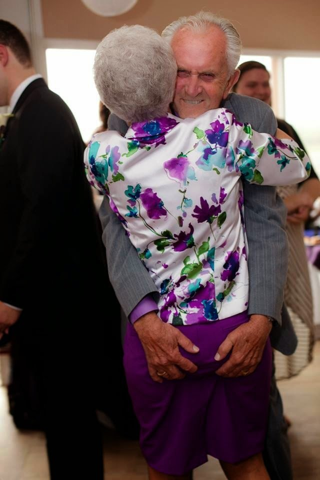 Horny Old Man. Ass.. He's actually just keeping her butt cheeks from sagging out under her skirt