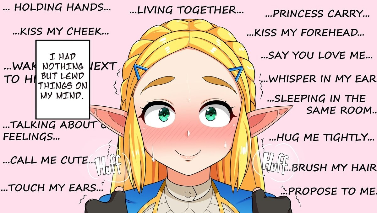 """How scandalous!. .. Just played through botw again, I keep forgetting how delicate they make zelda sound. Very """"oh no Link we mustn't do this, I'm promised to the neighboring kingd"""