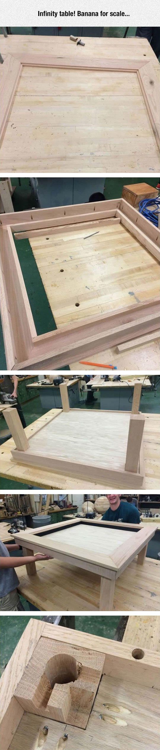 How To Build An Infinity Table. . Infinity table! Banana for scale.... Put your dick on it
