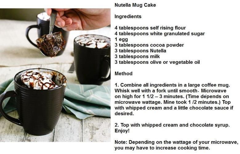 How to: Nutella mug cake. . Nutella Mug Cake Ingredients 4 tablespoons self rising flour I 4 tablespoons white granulated sugar 1 egg ihn 3 tablespoons powder 3
