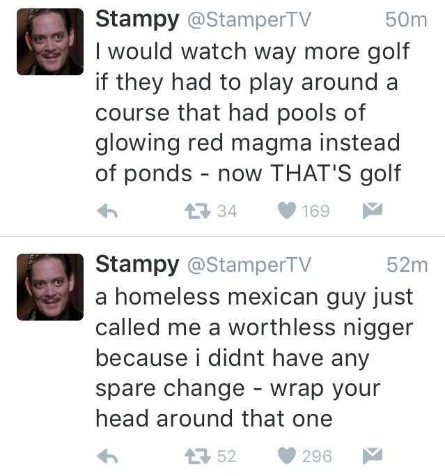How tweets change in 2 minutes. . Stempy @Stampertv I would watch way more golf if they had to play around a course that had pools of glowing red magma instead