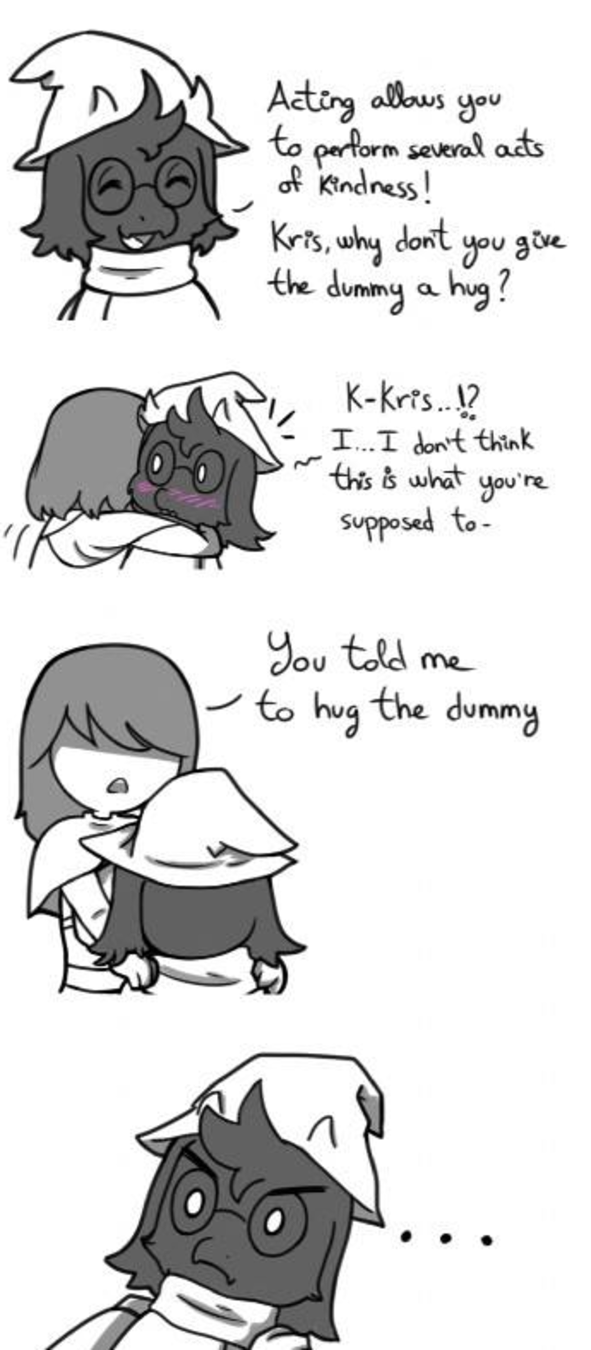 huggin dummies. .. Hey, Kris! Mind if I hug you're neck!?