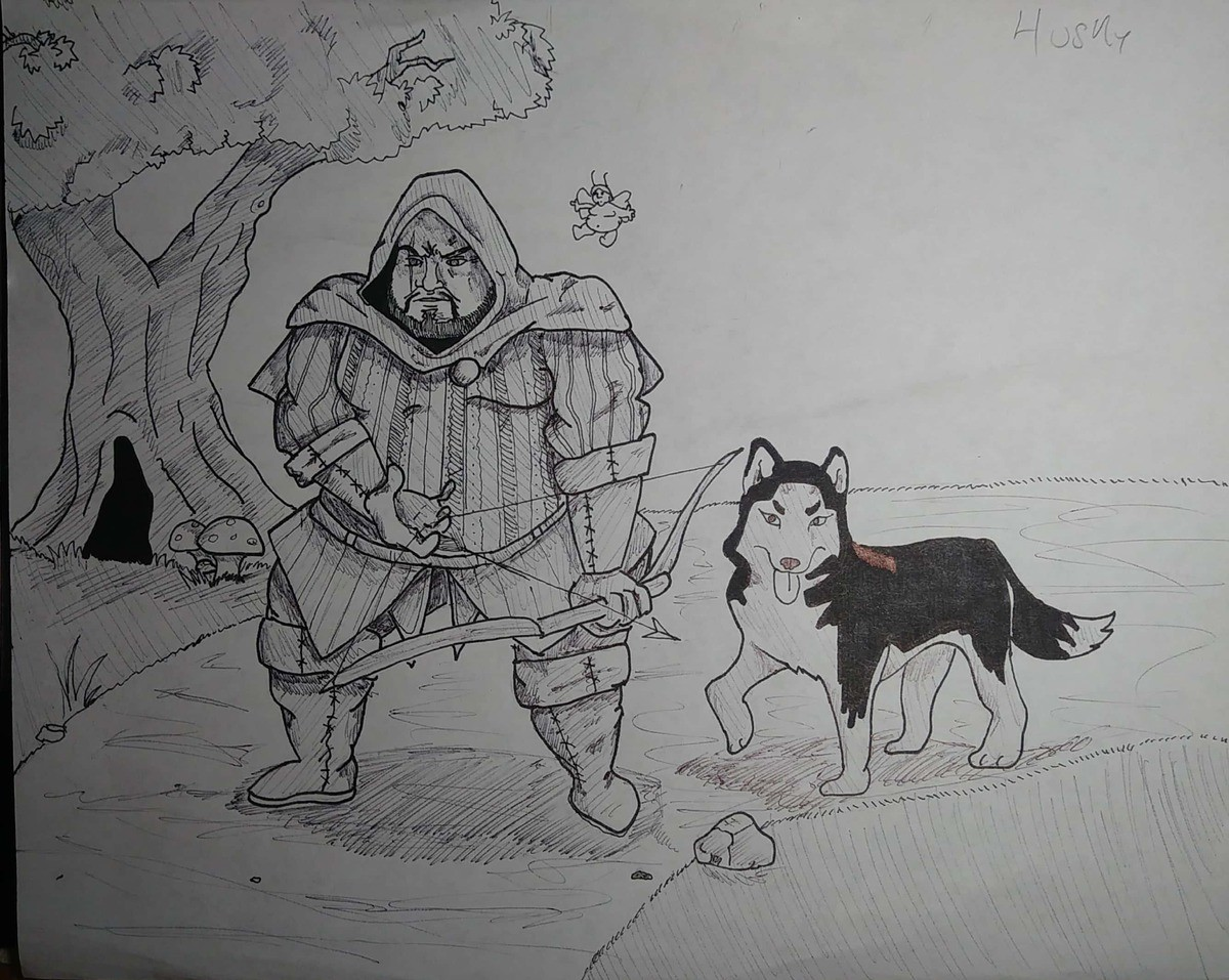Husky Ranger Inktober. Day 6. Husky I decided to draw a husky, husky ranger. With his husky fairy friend... What kind of prey is this dude hunting? Chocolate cakes?