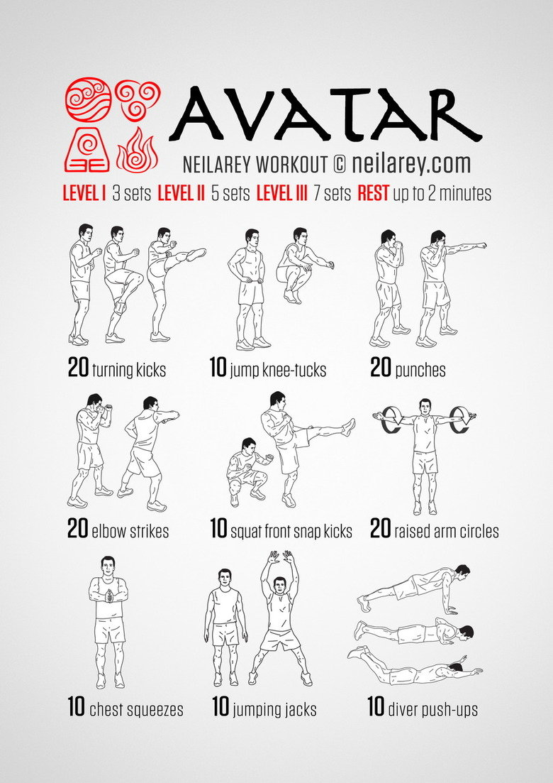 I might try some of these.. Source: http://neilarey.com/workouts.html It might be the thing to get some people to get a little exercise. But without eating righ