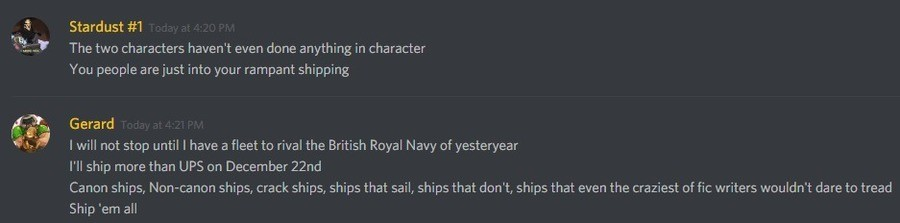 I Ship It. A little exchange on a Tabletop Gaming Discord.. E E Stardust #1 It, ' The twr: characters haven' t even do he anything in character You people are j