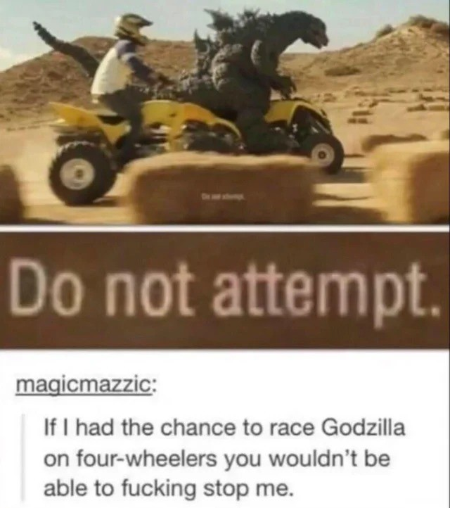 I will ing attempt. .. Just keep in mind Godzilla is a sore loser.
