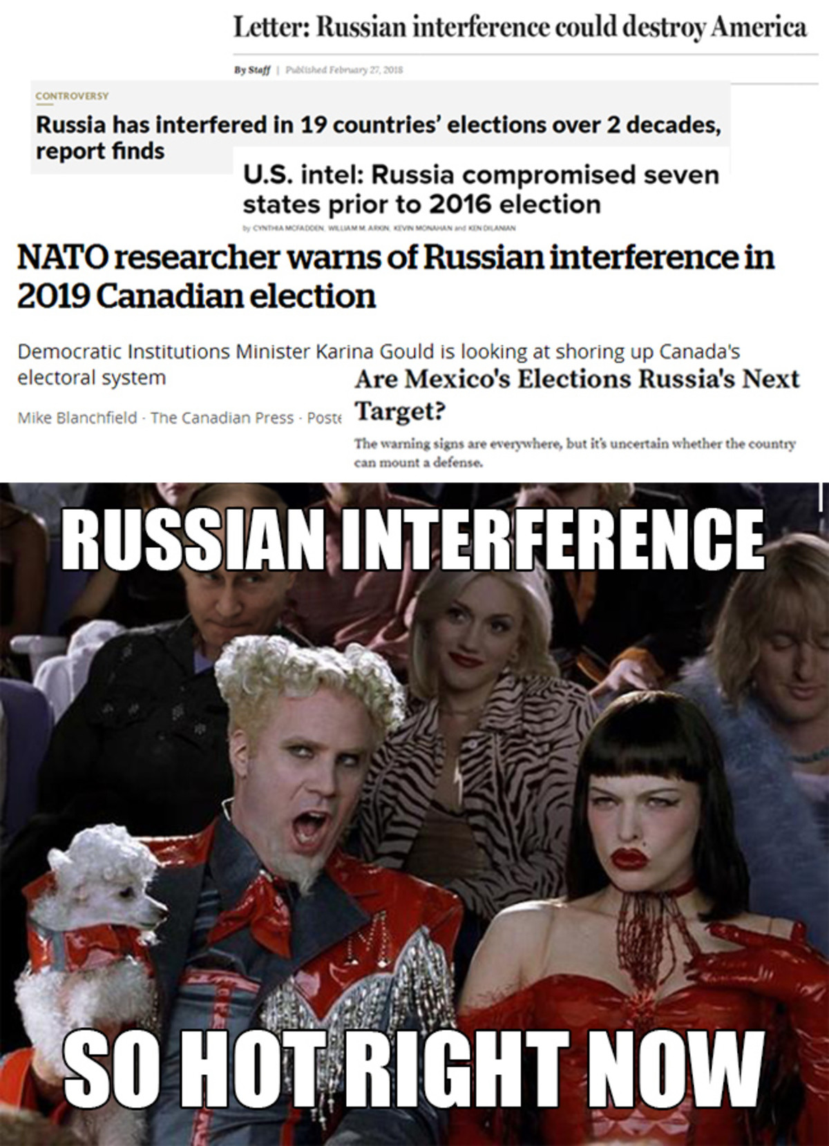 I'm really worried about Mexico. We're reaching Russian interference levels that shouldn't even be possible . Letter: Russian interference could destroy America