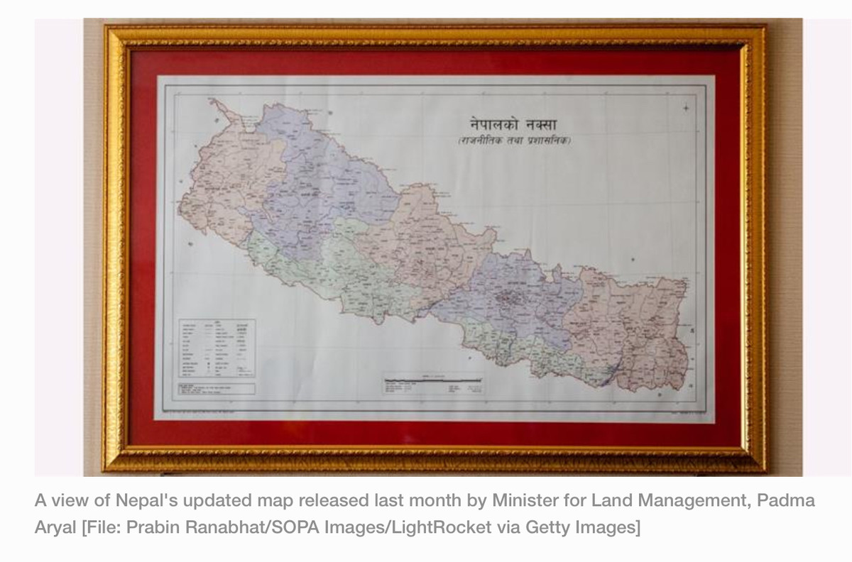 India/Nepal relations. https://www.aljazeera.com/news/2020/06/nepal-parliament-approves-map-includes-land-india-claims-200618074902407.html The upper house of N