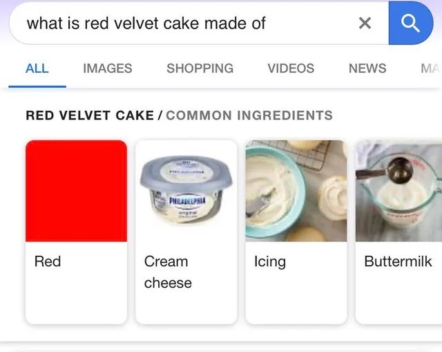Ingredient. .. >>#1, >>#2, >>#3, It's vinegar and buttermilk added to cocoa. The acidity causes a reaction which turns the cocoa red. True red velvet cake is
