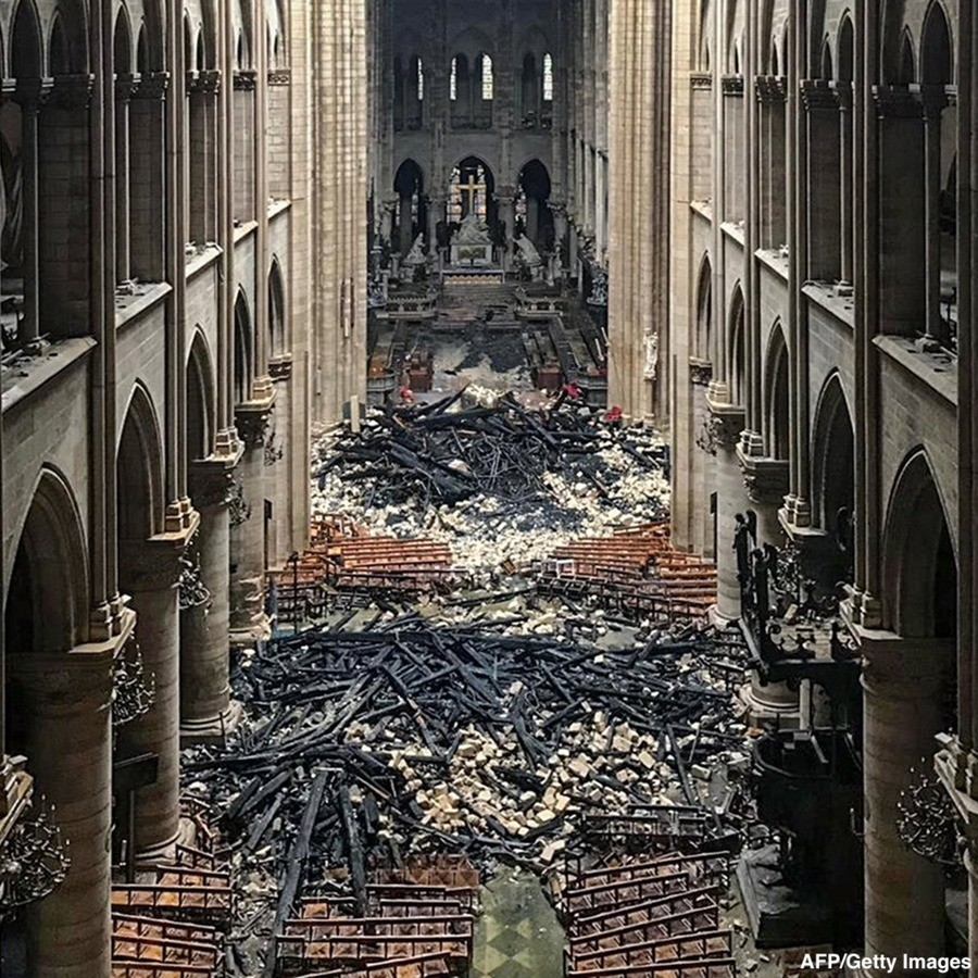 inside Notre Dame. it will have to be closed for a estimated 3 years for repairs.. tbh for that kind of catastrophic fire it looks not that bad