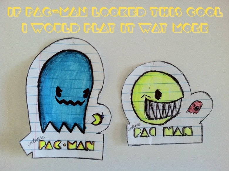 Intense Pac Man. I wish Pac-Man looked this intense. This is just my opinion These are original drawings by me .