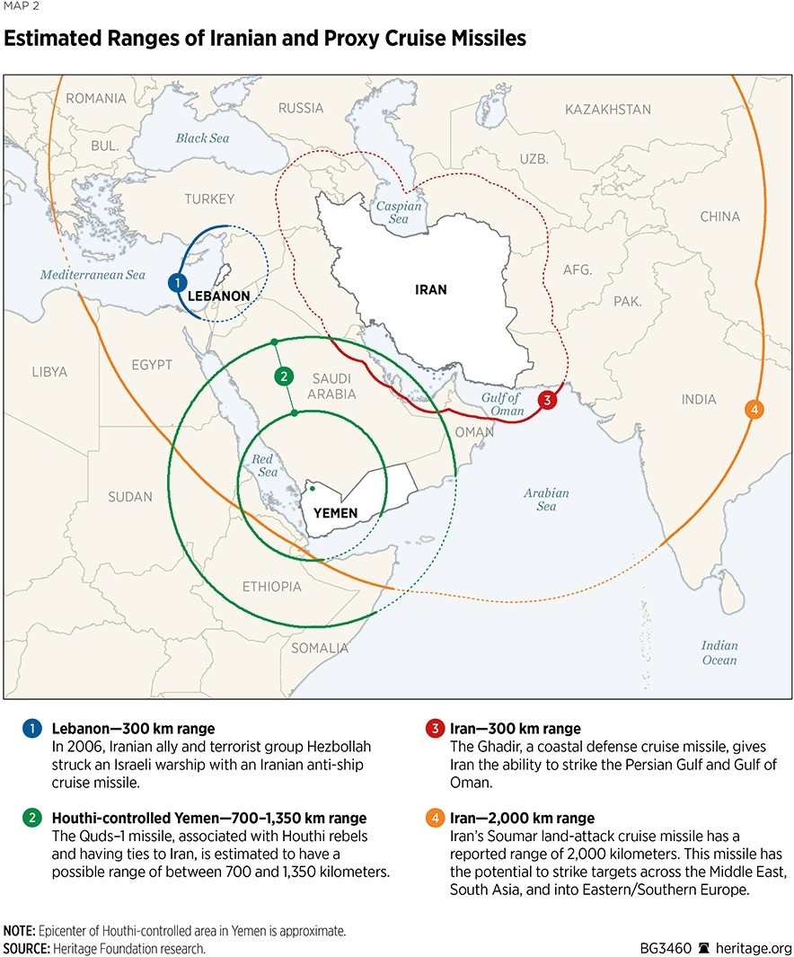 Iran and Proxies missile range. .. All good targets -- Missiles away.