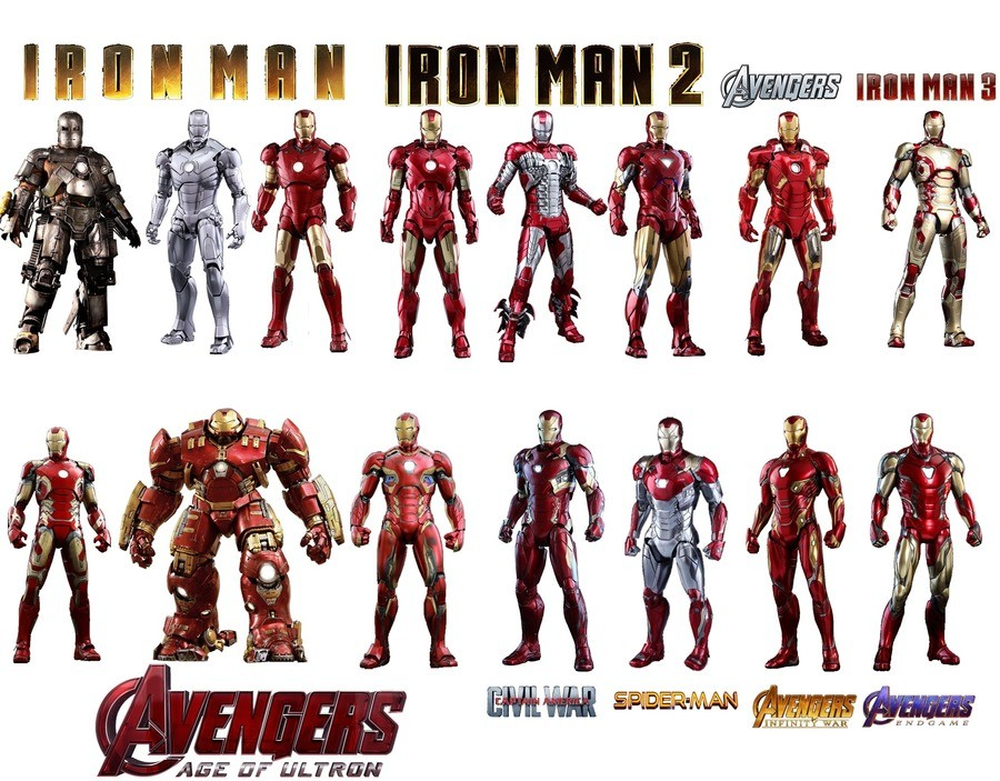 IRON SUITS. .. I like how endgame seems to look very much like his old comic look.