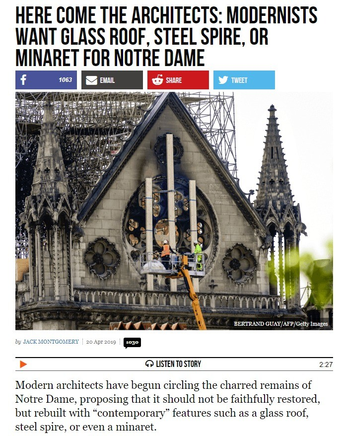 Islamic minaret for Notre Dame?. .. IT IS A STANDING PIECE OF HISTORY, NOT YOUR PERSONAL RENOVATION PROJECT. Seriously, recreating it as close to its original form should be the no.1 priority.