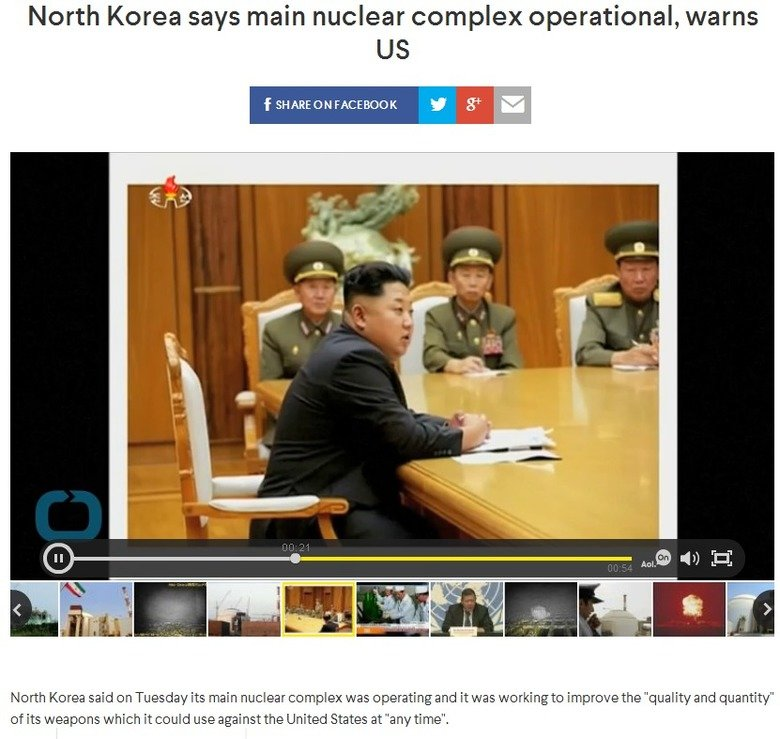 it begins. Credit goes to KingJuan for the news photo: . l Korea says main nuclear complex operational, warns elit awning North ' leren said on Tuesday its main