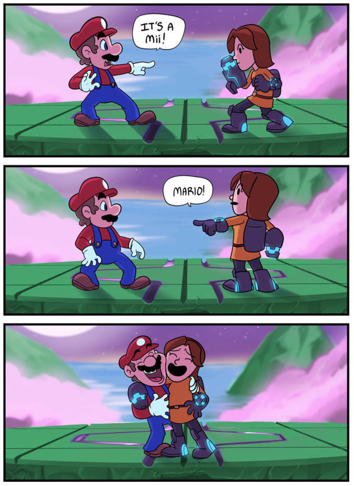It's A Mii Mario. .. The art style reminds of the Fanboys webcomic, please tell me it's back. I NEED MY FIX DAMMIT