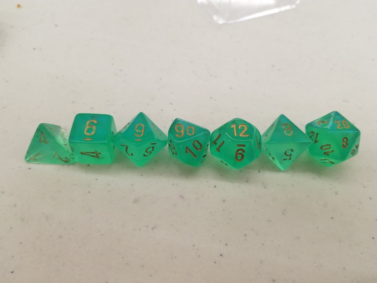 Jade set from mizewell. Back on my today with some jade and gold dnd dice from mizewell!.. I'd appreciate it if you didn't flood this channel with dice shenanigans