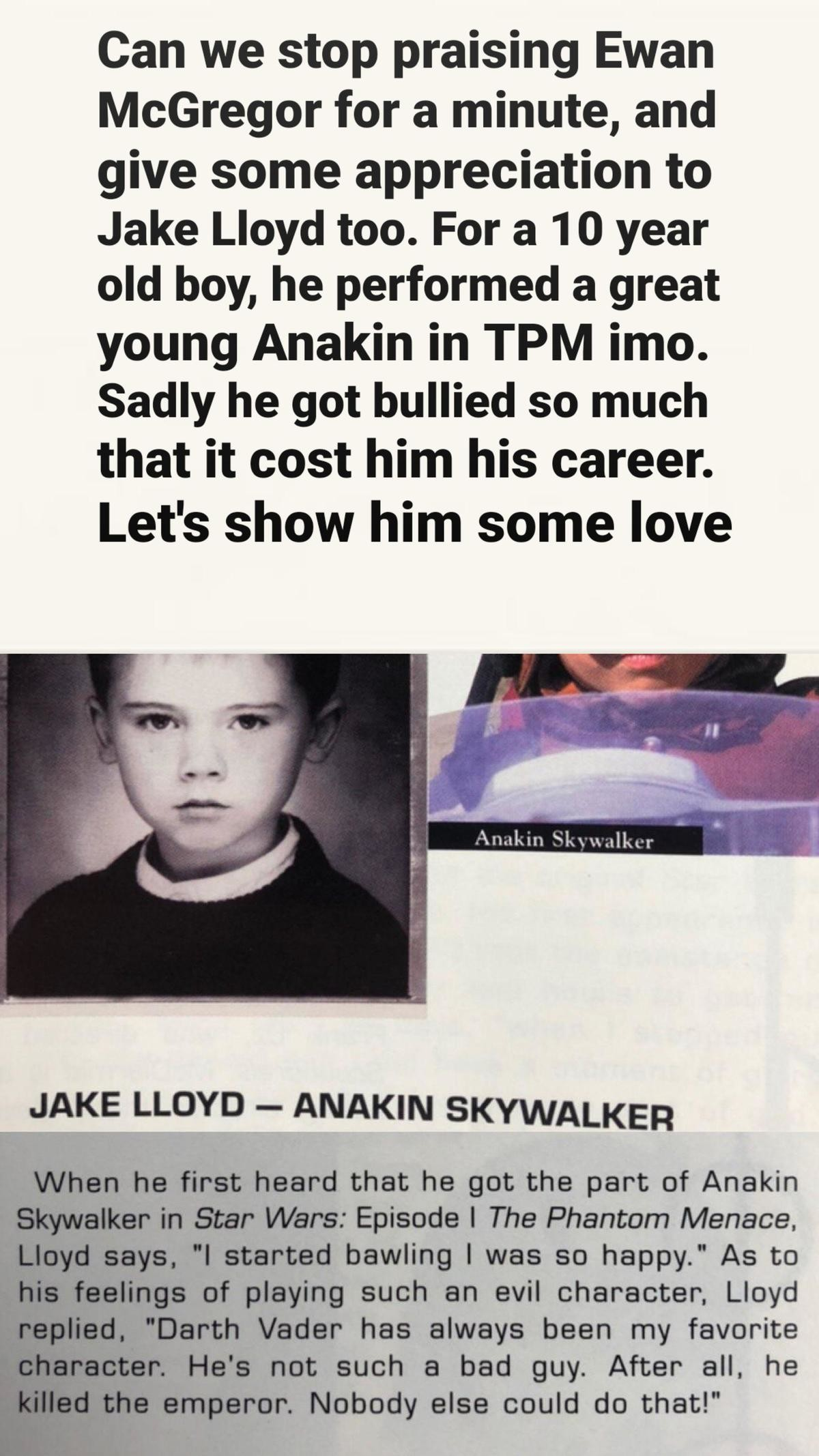 Jake Lloyd. .. He also went to jail for some