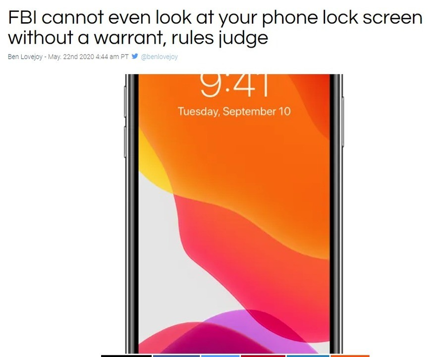 Judge rules FBI can't even look at phone lock screen. .. thats good