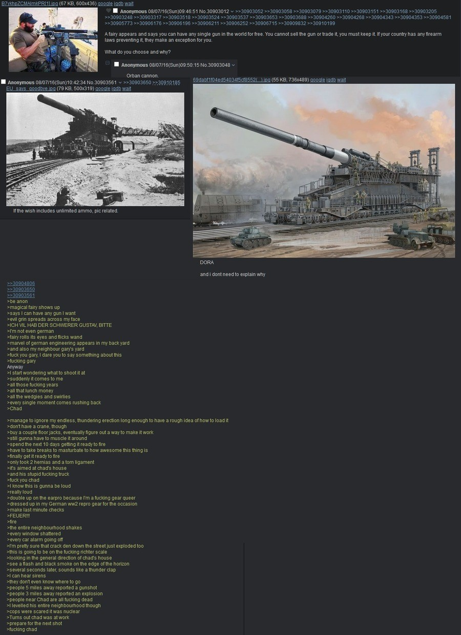 "/k/ makes a wish. . Hairy"" appears and says we me have any single gun in the wand fatfree. the cannot sell the gun retrade it, yeu must keep it. Inyour country"