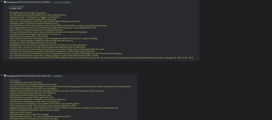 /k/ vs ISIS. anyone got more like this?. bungee. ansa awe battle starts with a single term gunshow ISIS guard drops tram the guard teepot m their shitty tent ca