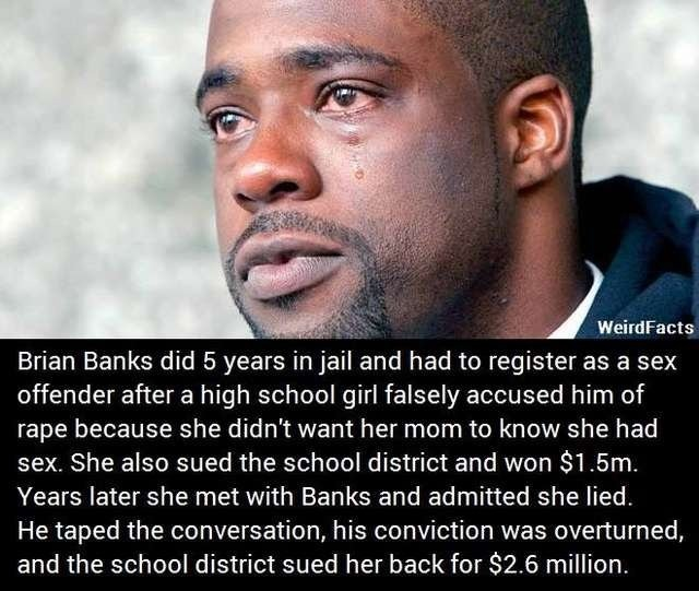 KARMA BONER. He now plays for the Atlanta falcons. Gets the bitch right. But he'll never get the 5 years back.... Brian Banks did 5 years in jail and had to reg
