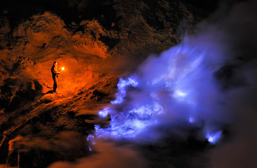 Kawah Ijen by ht. Photographer Olivier Grunewald has recently made several trips into the sulfur mine in the crater of the Kawah Ijen volcano in East Java, Indo