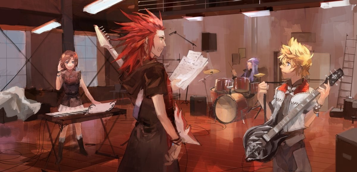 """KH3 Rock band Sea Salt. https://twitter.com/LimiiCirculate/status/1104808137754738688.. After Axels' guitar breaks due to heat, the gang looks for a new one, only to find out he had a spare the whole time """"Hey Axel we got you a-"""""""