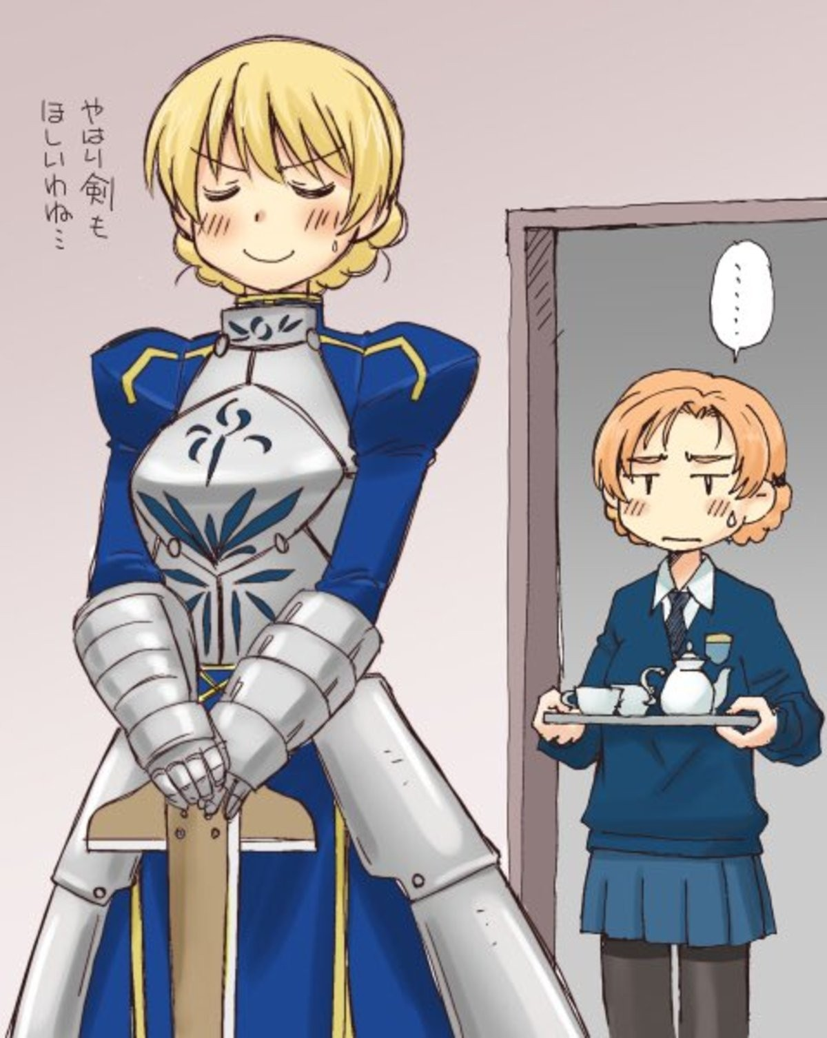 Kht of St. Glorianna. text: I'd really like a sword as well... The other way around... Darjeeling is a good girl. So noble. So pure.