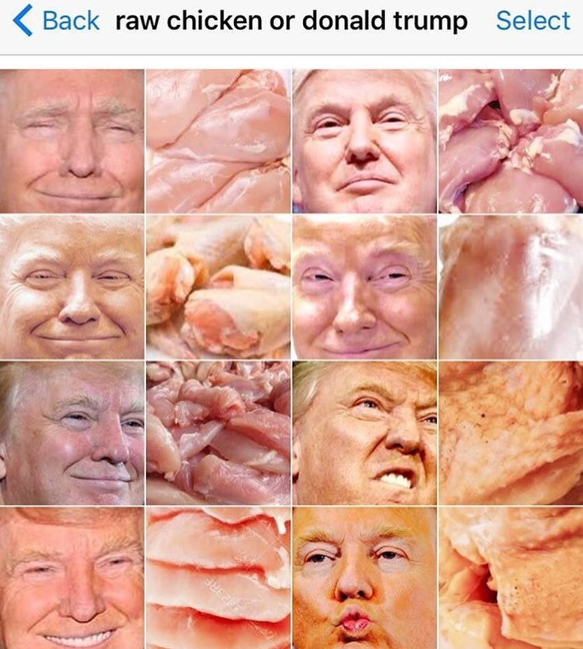 Kill,marry, . . Back raw chicken or donald trump Select. I'd Hillary for a hundred and five dollars... shieeeet