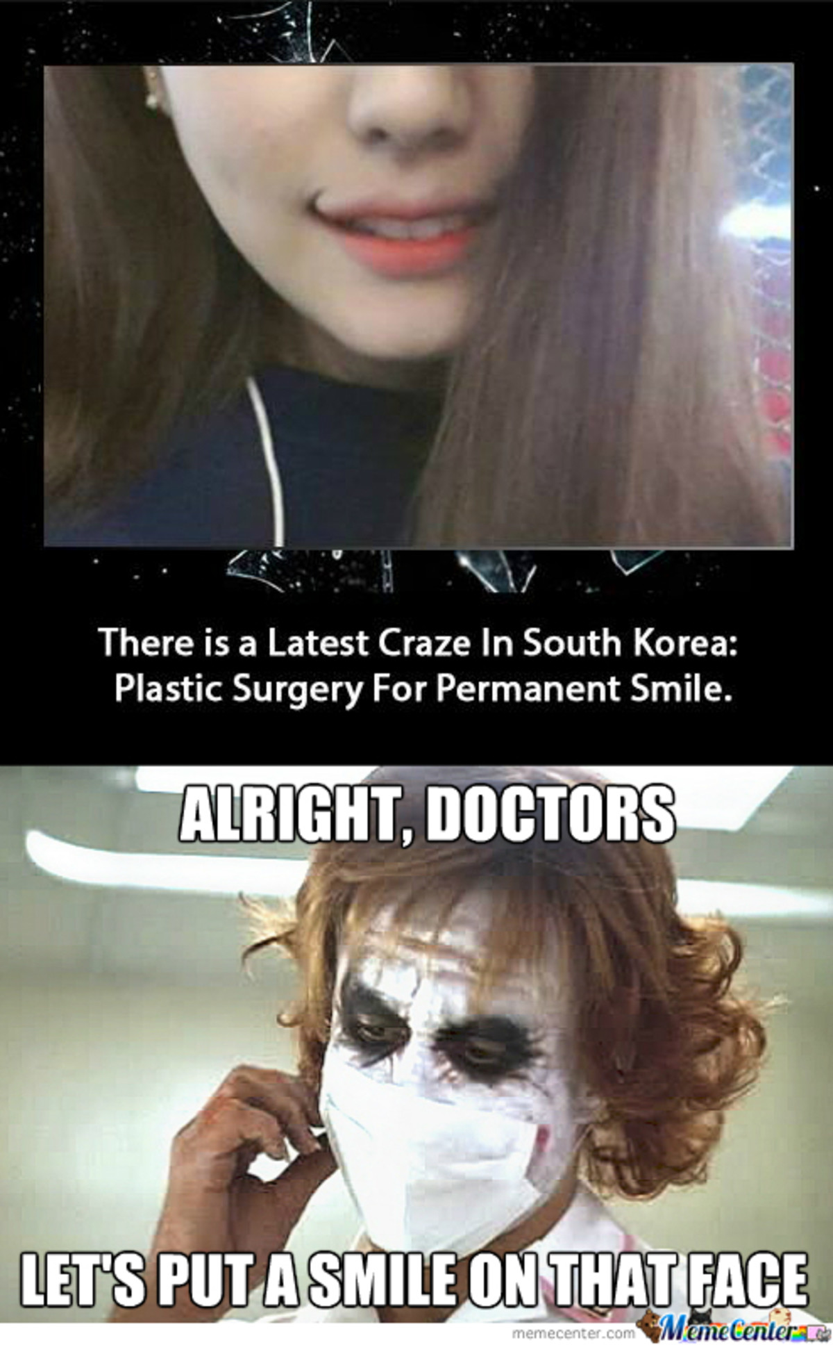 Korea Society. .. 3 months from now when the trend pass they will looks even more retarded. tho in korea surgery is as easy as taking a pill. so as long as you can affort it. you