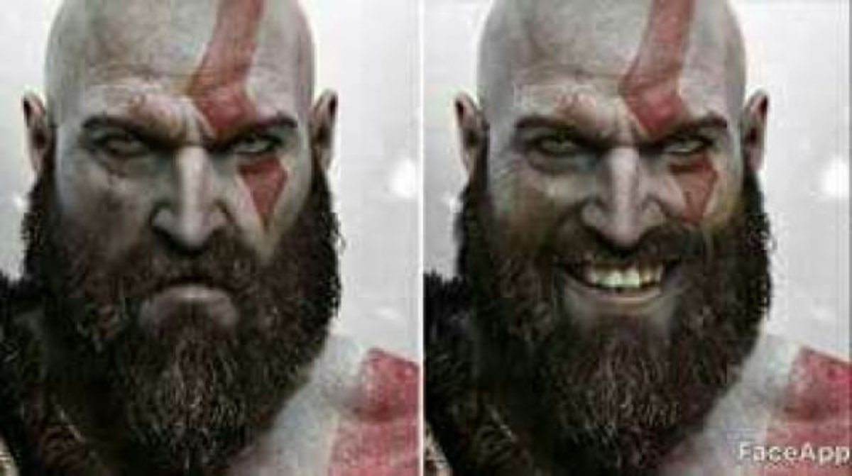 """Kratos. urghhh..... The smile makes him scarier. Before it was just """"I'm going to kill you because you're in my way."""" Now it's """"I'm going to kill you because I take"""