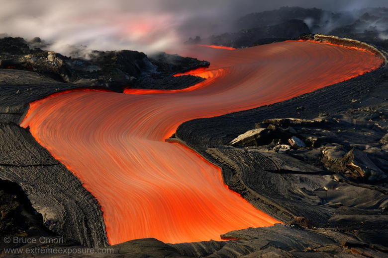 Lava River in Hawaii. Looks like that wire tape they use in computers. Must... resist... urge... to touch..... I kinda wanna eat it