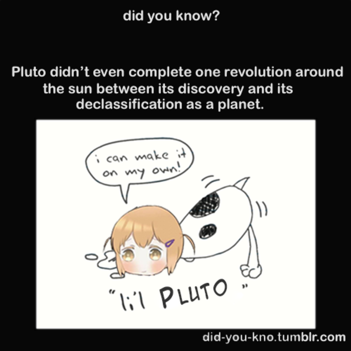 Lil' Pluto. join list: Animango (873 subs)Mention Clicks: 92611Msgs Sent: 676321Mention History. did you know? Pluto didn' t even complete one revolution around