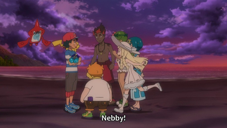 Lillie loves Nebby. .. If you zoom in on Kiawe's eye and flip it over, it looks like a face with a monobrow.