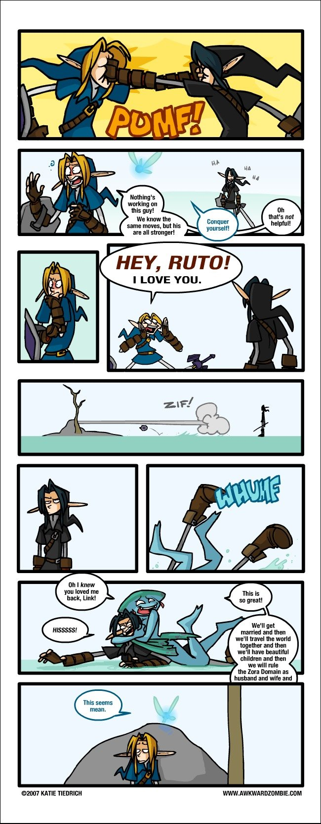 Link Defeats Dark Link. Credit to Awkward Zombie . his guy! we km the mm: muss, but his an all mgr! RUTO! I LOVE YOU. We' ll get married and tham we' ll usual t