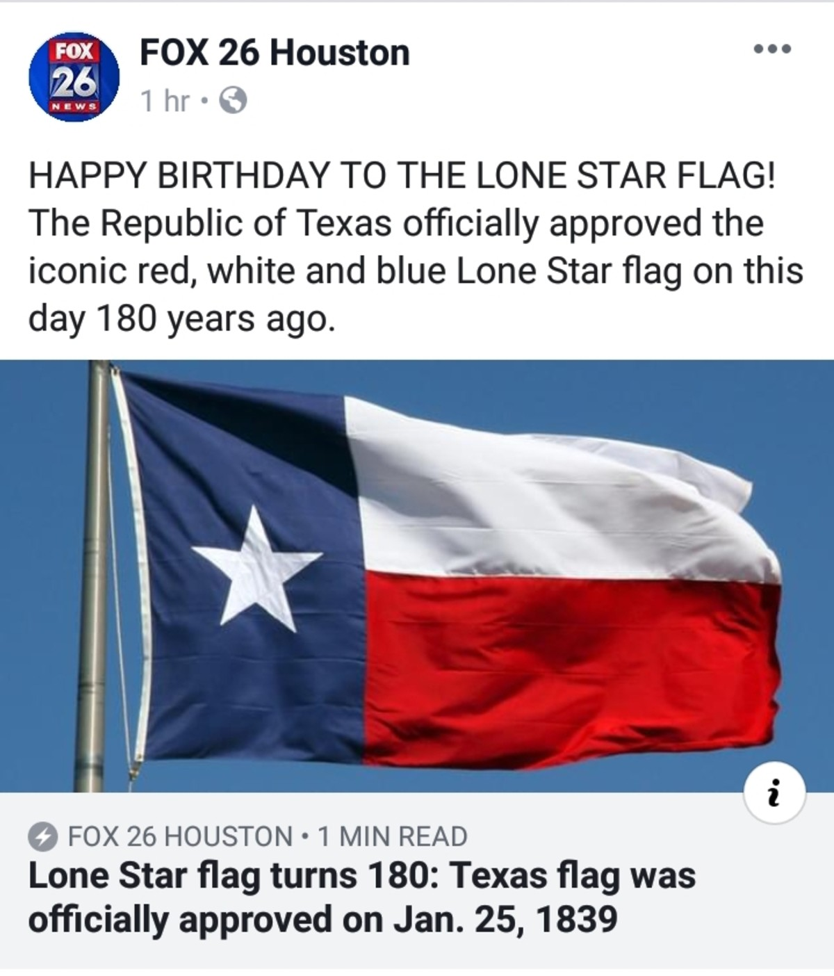 Lone Star flag is 180 years old, y'all. http://www.fox26houston.com/news/lone-star-flag-turns-180-texas-flag-was-officially-approved-on-jan-25-1839 join list: T
