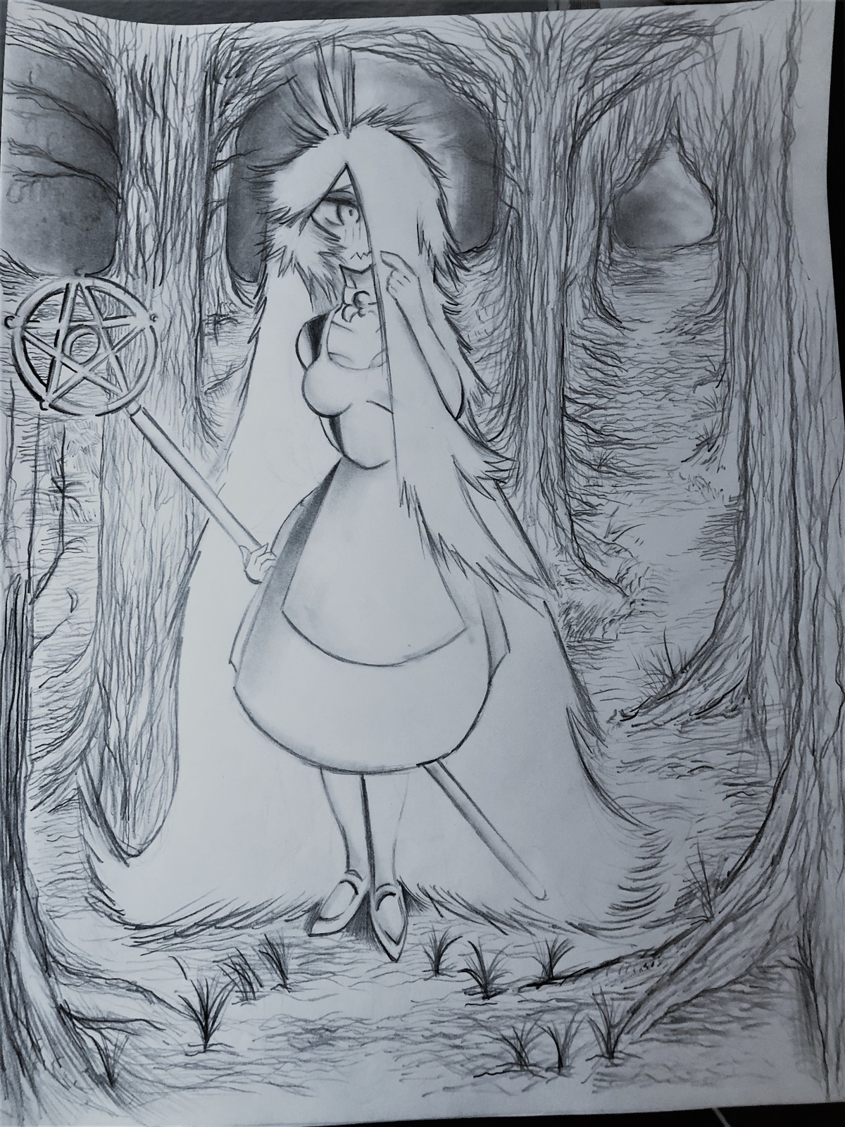lost Witch. I drew a background this time. much fun. might try again too.. join list: GiantFluffyHairMention History