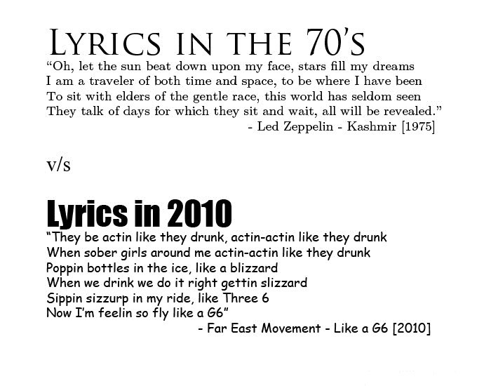 Lyrics of the 70's vs 2010. Are people in general getting dumber or just the ones who make music?. LYRICS Ils( l THE 70' s Oh, let the sun beat down upon my fac