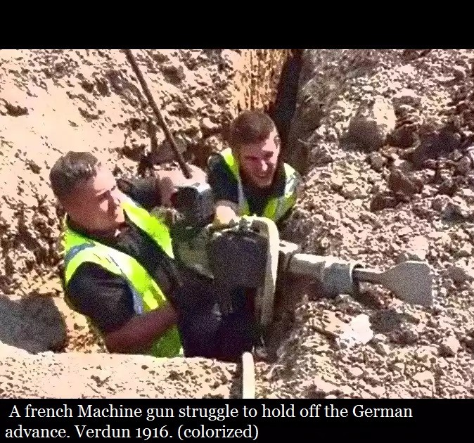 Machine gun crew. Video uploaded here: Template join list: Combat (611 subs)Mention History. advance. Verdun 1916. (colorized). this took me 1 minute you lazy goober
