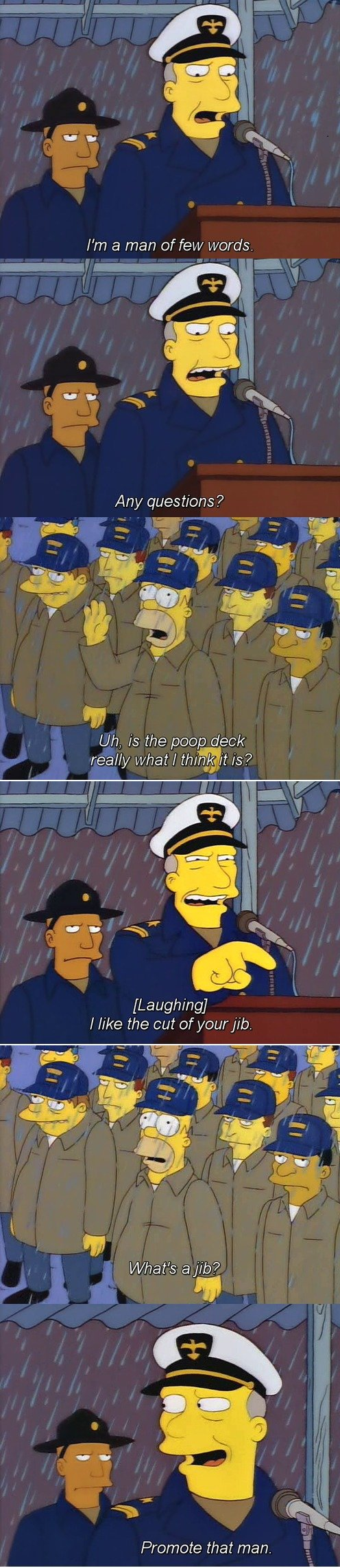 Man of Few Words. Source: Simpsons Guy.. But to answer the question; yes it is called the poopdeck because that's where they traditionally took a dump