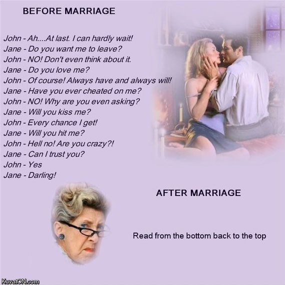 Marriage. i like reading from top to bottom more.... BEFORE MARRIAGE John -..._. Ar last. roan hardly won! Jono - Do you wanter to foo yo? John - MY Don it own