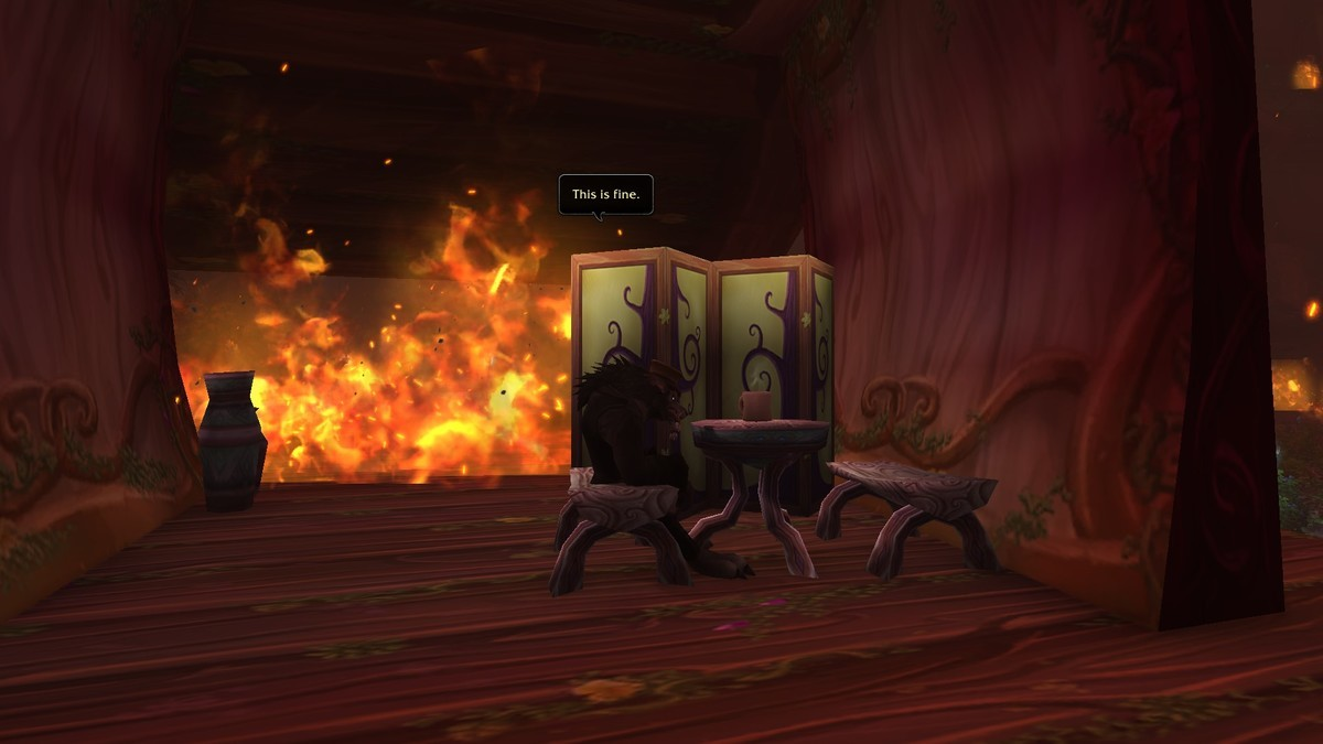 Meanwhile in Teldrassil. This is from the game itself.. meanwhile...my worgen during the entire event