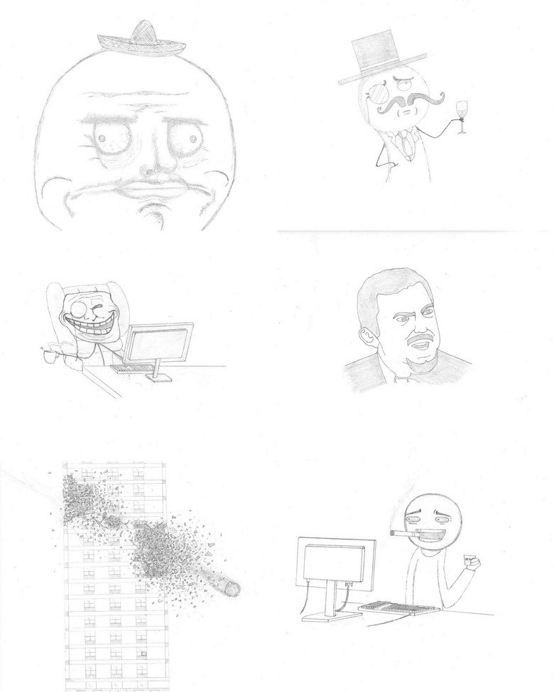 Meme Art Collage. All my meme drawings. Obviously 100% OC by me. Very high quality image!.