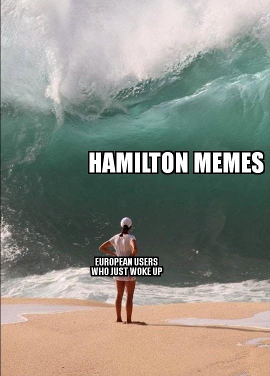 "mems. .. I haven't seen a single Hamilton meme, only those where ""hurr Europeans won't understand it""."